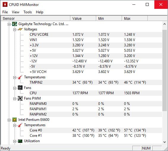 Check CPU temperature in Windows 10