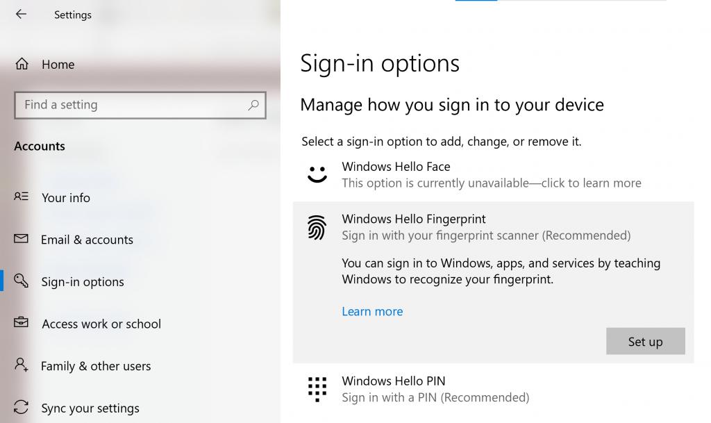 Windows Hello Fingerprint Unlock