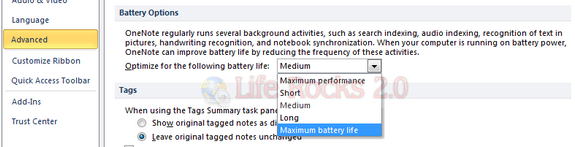 Battery options