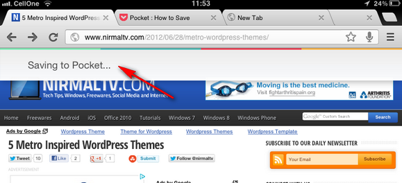 Bookmarklet in action