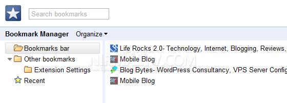 Bookmarks on Chrome