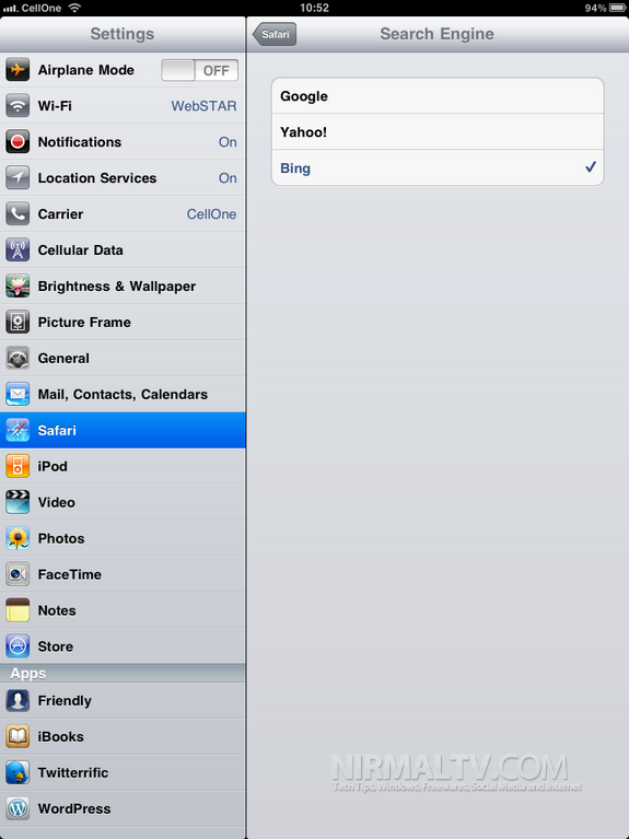 Change Search Engine iPad 2