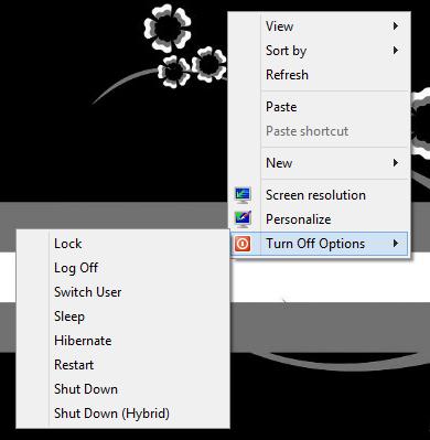 Context menu shutdown