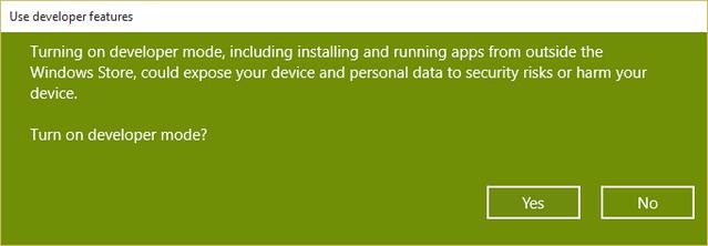 Developer mode enable windows 10