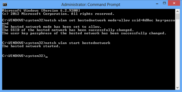 Enable hosted network
