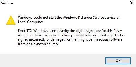 Fix Error 577 on Windows Defender