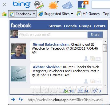 Facebook web slice