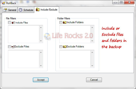 Include Exclude files