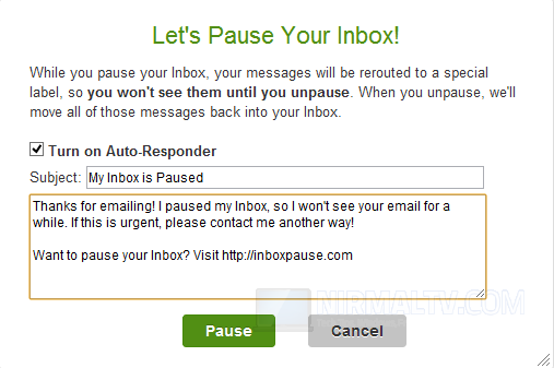 Message for paused inbox