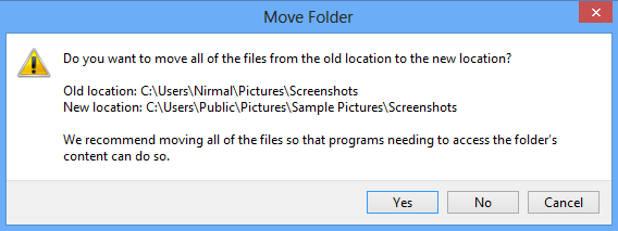 Move folder to new location
