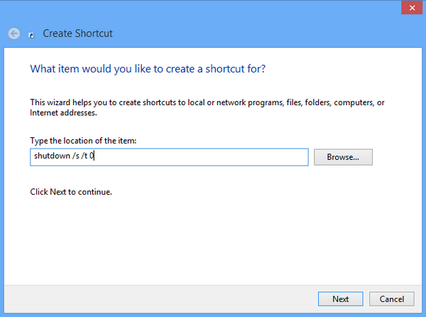 New shortcut created