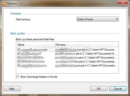 Options for Outlook backup