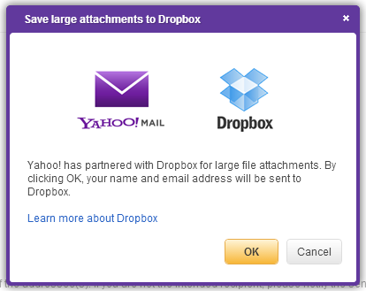 Save to dropbox for yahoo