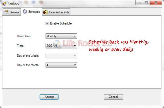 Schedule Back ups