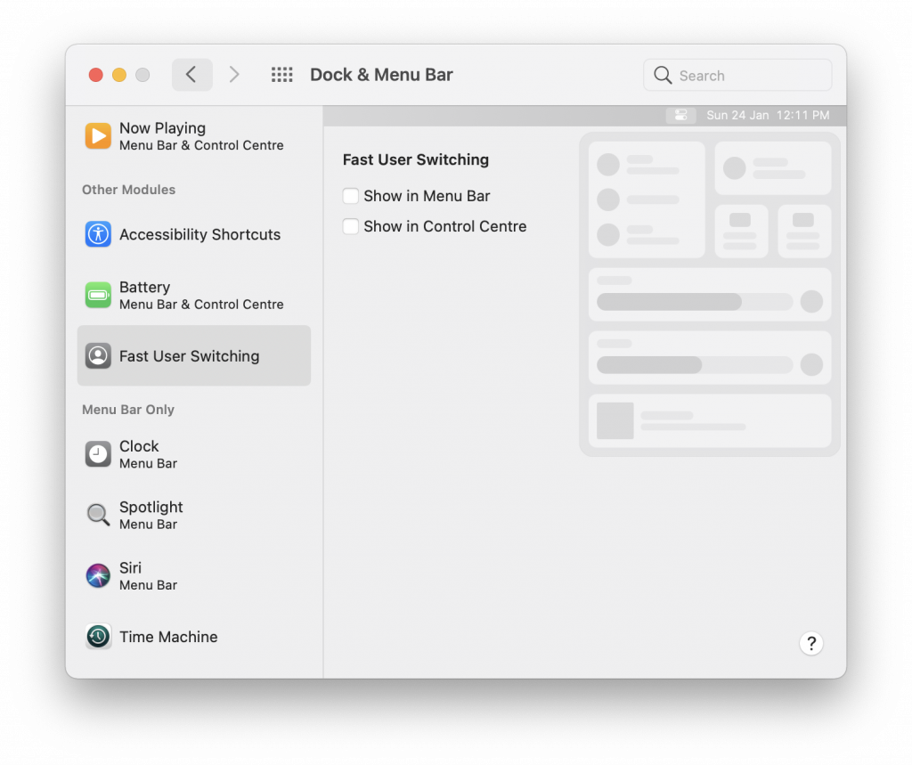 Enable Fast User Account Switching in macOS
