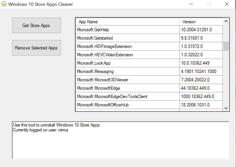 Uninstall Windows 10 Store Apps