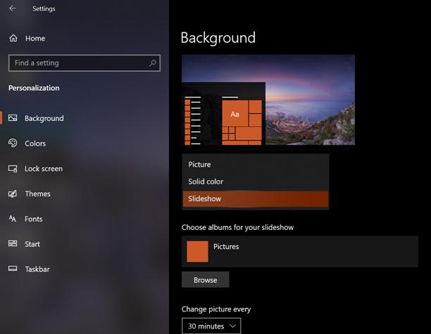 Wallpaper Slideshow on Windows 10