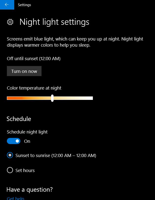 Enable Night Light Mode in Windows 10