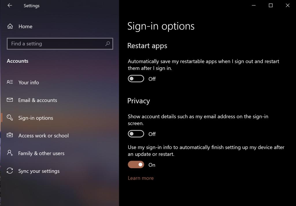 Restore Running Apps after Rebooting Windows 10