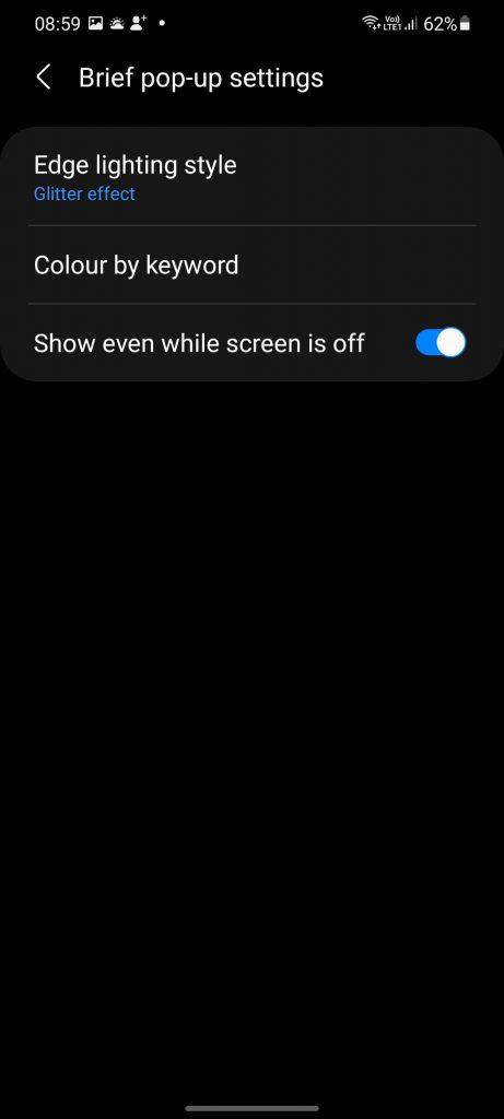 Enable Edge Lighting on Samsung Galaxy S21
