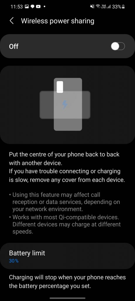 Reverse Wireless Charging on Samsung Galaxy S21