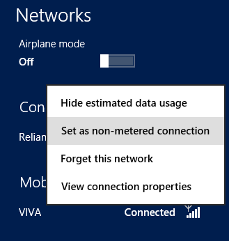 Set as non-metered connection