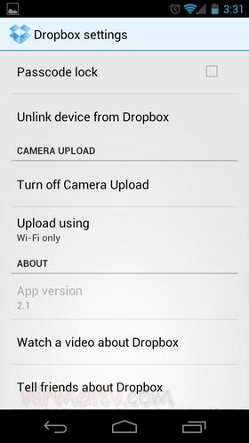 Settings Dropbox