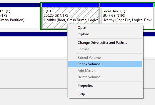 Shrink volume