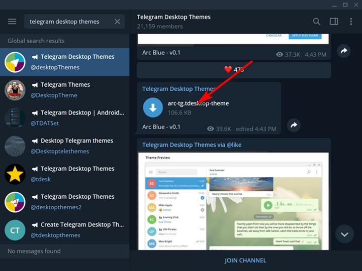 Install Themes on Telegram Desktop