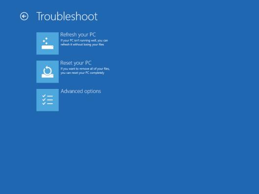 Troubleshoot menu
