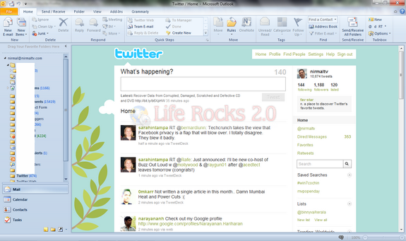 Twitter in Outlook