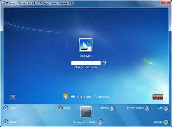 Windows 7 logon tweaker