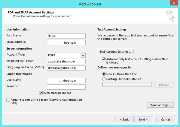 Yahoo mail POP settings