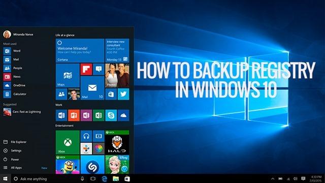 backup registry windows 10
