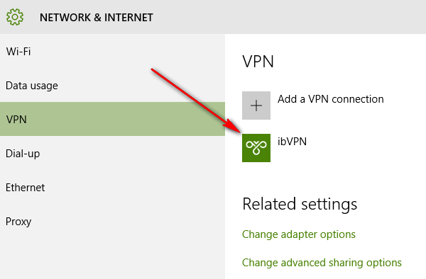 VPN Connection on Windows 10