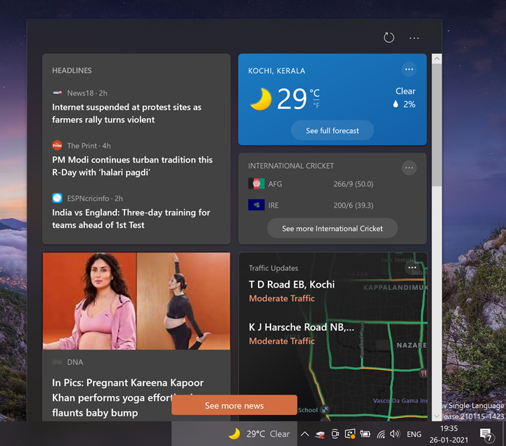 News and Interests Button in Taskbar