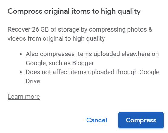 Recover Storage on Google Photos